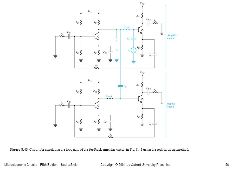 Microelectronic Circuits - Fifth Edition Sedra/Smith56 Copyright 2004 by Oxford University Press, Inc. Figure 8.43 Circuit for simulating the loop gai