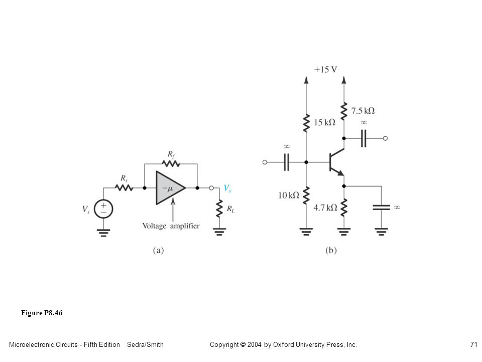 Microelectronic Circuits - Fifth Edition Sedra/Smith71 Copyright 2004 by Oxford University Press, Inc. Figure P8.46