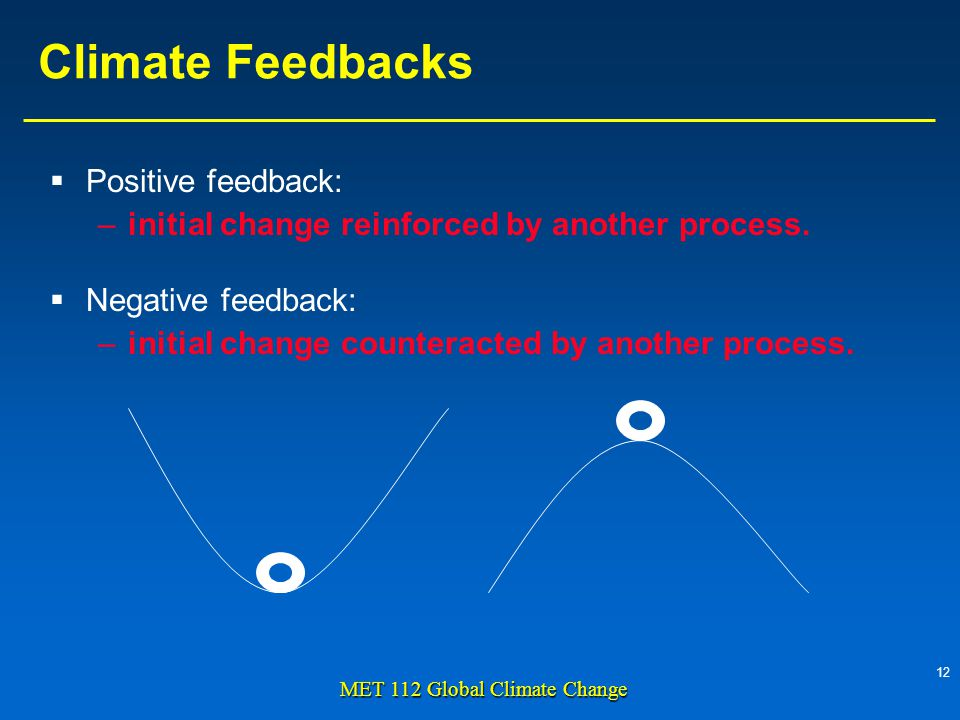 12 MET 112 Global Climate Change Climate Feedbacks Positive feedback: –initial change reinforced by another process.