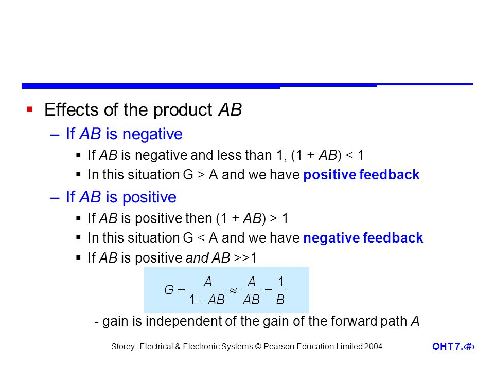 Storey: Electrical & Electronic Systems © Pearson Education Limited 2004 OHT 7.12 Effects of the product AB –If AB is negative If AB is negative and less than 1, (1 + AB) < 1 In this situation G > A and we have positive feedback –If AB is positive If AB is positive then (1 + AB) > 1 In this situation G < A and we have negative feedback If AB is positive and AB >>1 - gain is independent of the gain of the forward path A