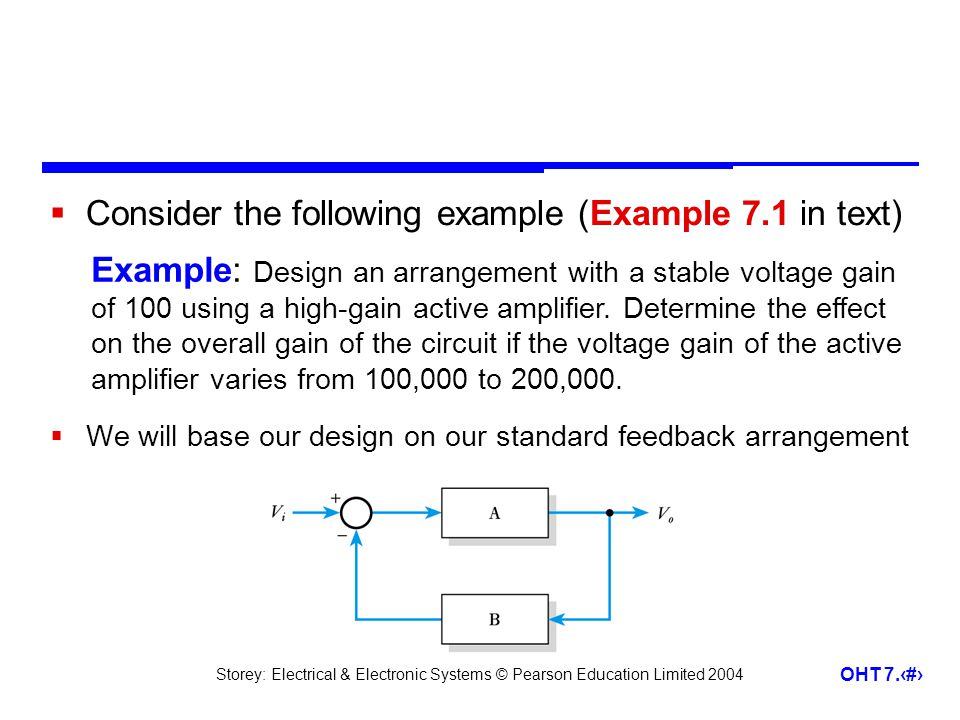 Storey: Electrical & Electronic Systems © Pearson Education Limited 2004 OHT 7.14 Consider the following example (Example 7.1 in text) We will base ou