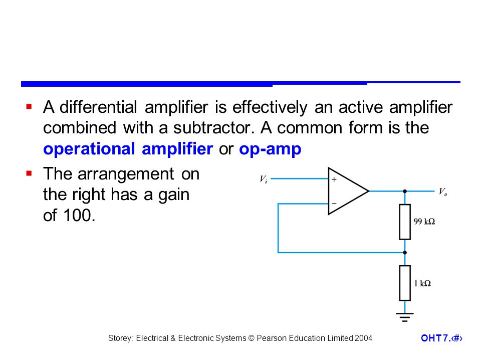 Storey: Electrical & Electronic Systems © Pearson Education Limited 2004 OHT 7.21 A differential amplifier is effectively an active amplifier combined