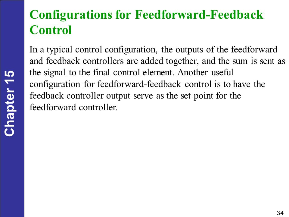 Chapter 15 34 Configurations for Feedforward-Feedback Control In a typical control configuration, the outputs of the feedforward and feedback controllers are added together, and the sum is sent as the signal to the final control element.