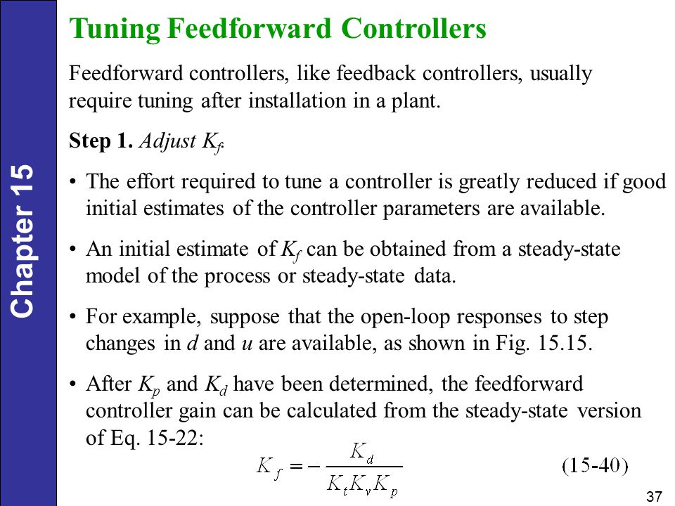 Chapter 15 37 Tuning Feedforward Controllers Feedforward controllers, like feedback controllers, usually require tuning after installation in a plant.