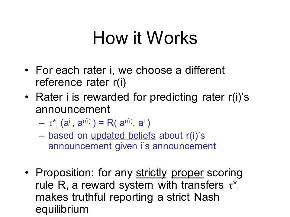 How it Works For each rater i, we choose a different reference rater r(i) Rater i is rewarded for predicting rater r(i)s announcement – * i (a i, a r(i) ) = R( a r(i), a i ) –based on updated beliefs about r(i)s announcement given is announcement Proposition: for any strictly proper scoring rule R, a reward system with transfers * i makes truthful reporting a strict Nash equilibrium