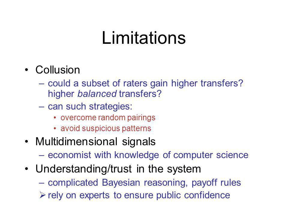Limitations Collusion –could a subset of raters gain higher transfers.