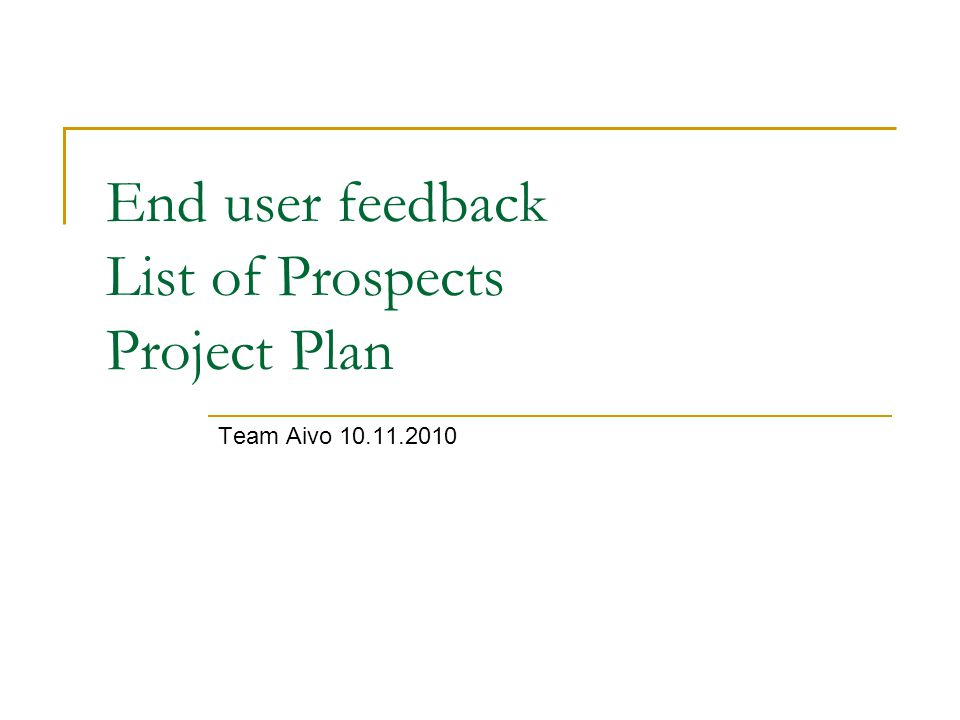 End user feedback List of Prospects Project Plan Team Aivo 10.11.2010