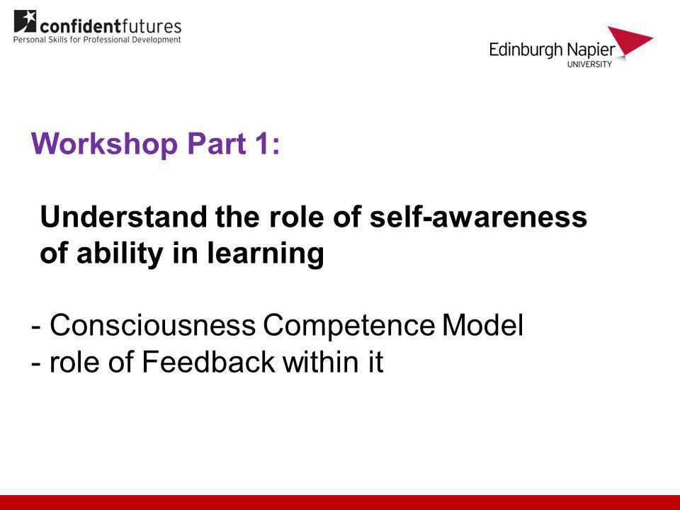 Workshop Part 1: Understand the role of self-awareness of ability in learning - Consciousness Competence Model - role of Feedback within it