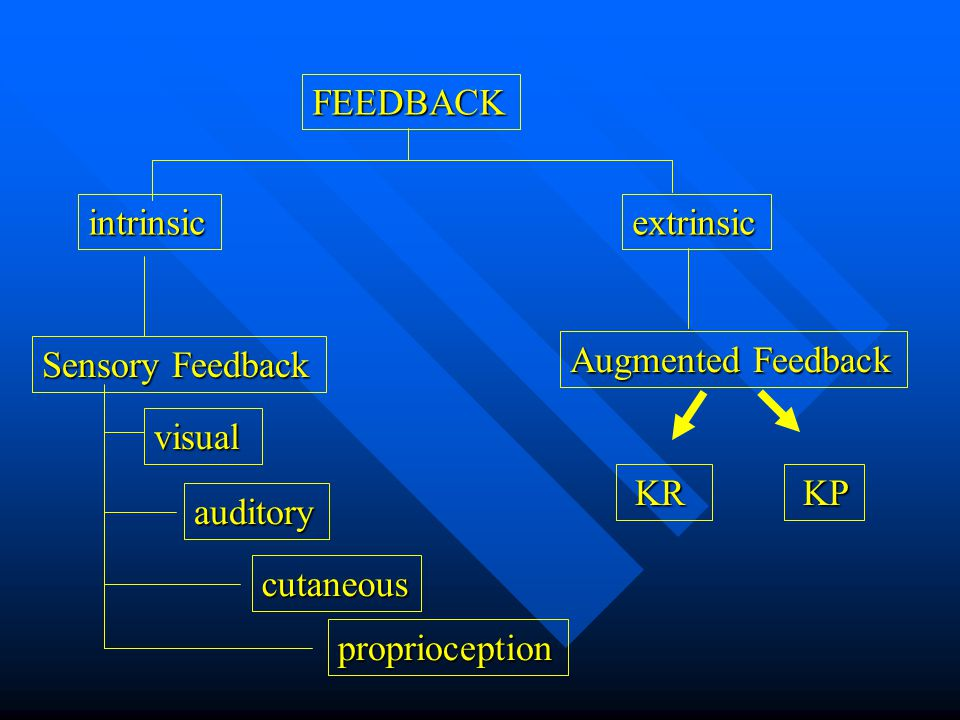 FEEDBACK intrinsicextrinsic Sensory Feedback Augmented Feedback visual auditory proprioception KR KR KP KP cutaneous