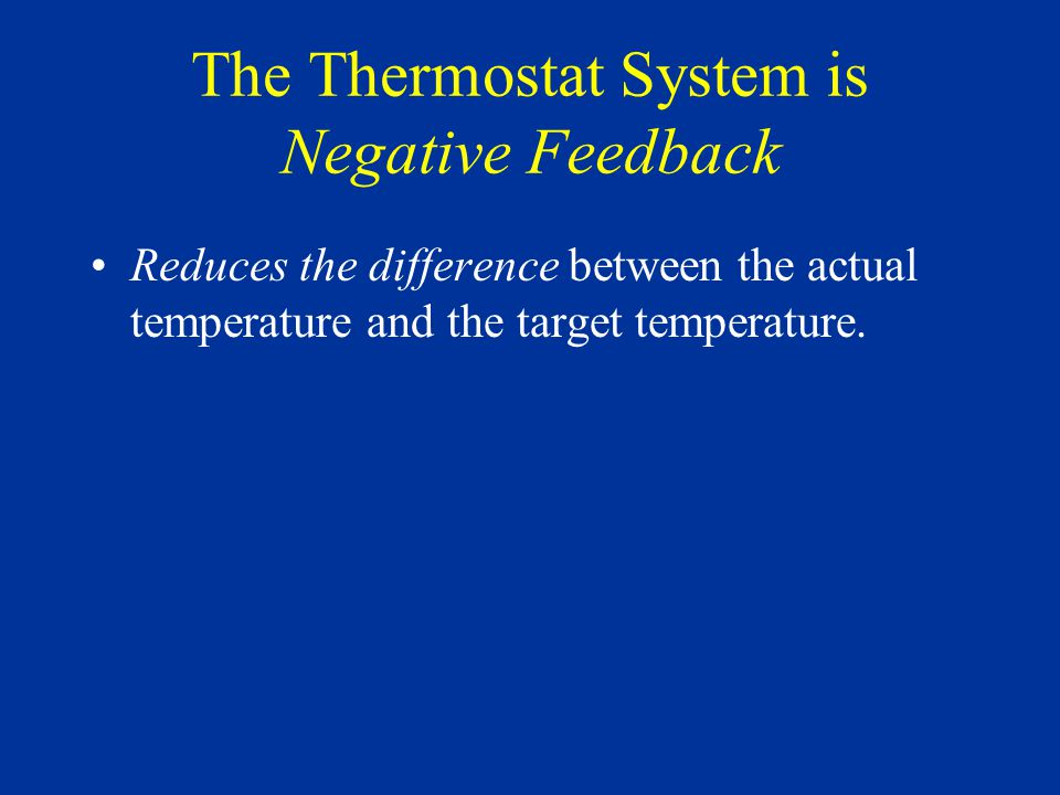 Negative Feedback Systems: Drive their output towards a target value.