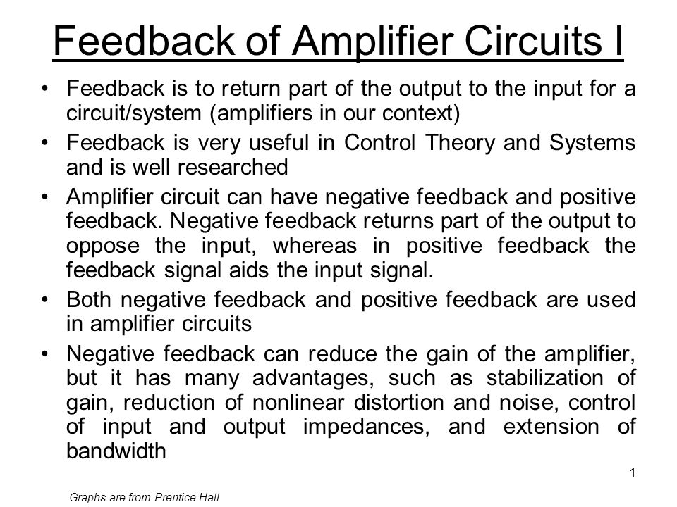 1 Feedback of Amplifier Circuits I Feedback is to return part of the output to the input for a circuit/system (amplifiers in our context) Feedback is very useful in Control Theory and Systems and is well researched Amplifier circuit can have negative feedback and positive feedback.