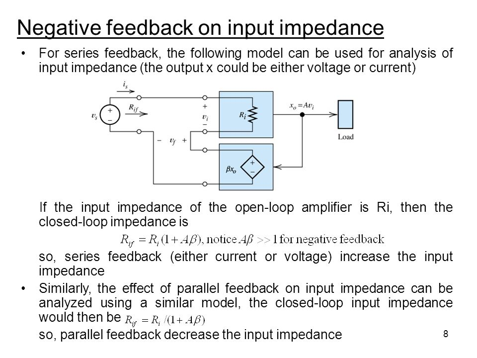 8 Negative feedback on input impedance For series feedback, the following model can be used for analysis of input impedance (the output x could be eit