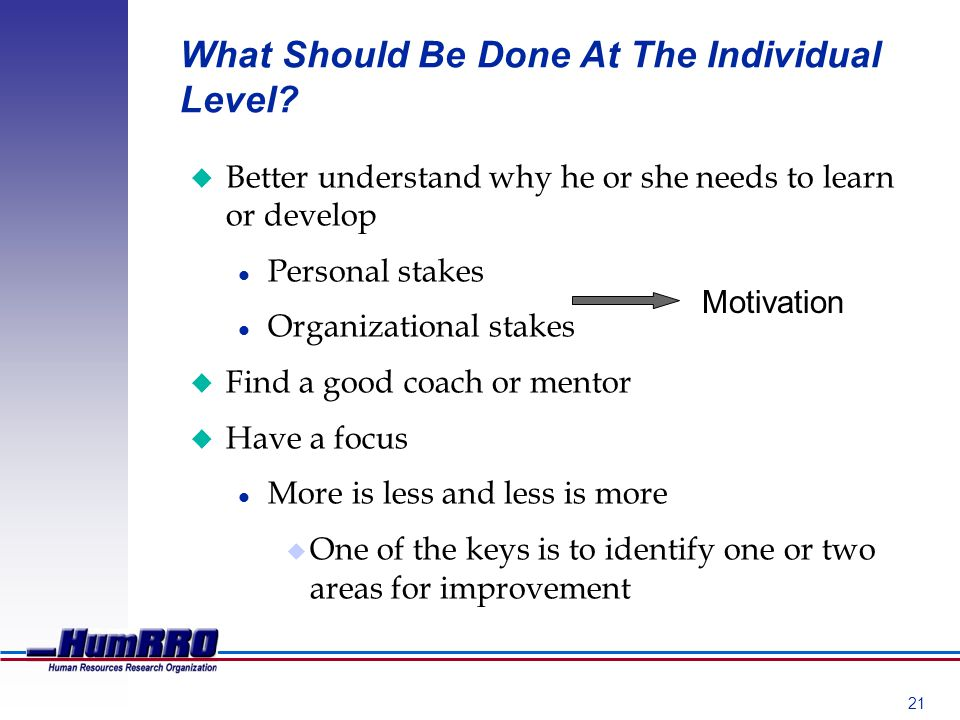 21 What Should Be Done At The Individual Level.