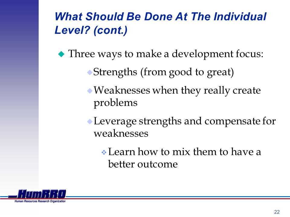22 What Should Be Done At The Individual Level.