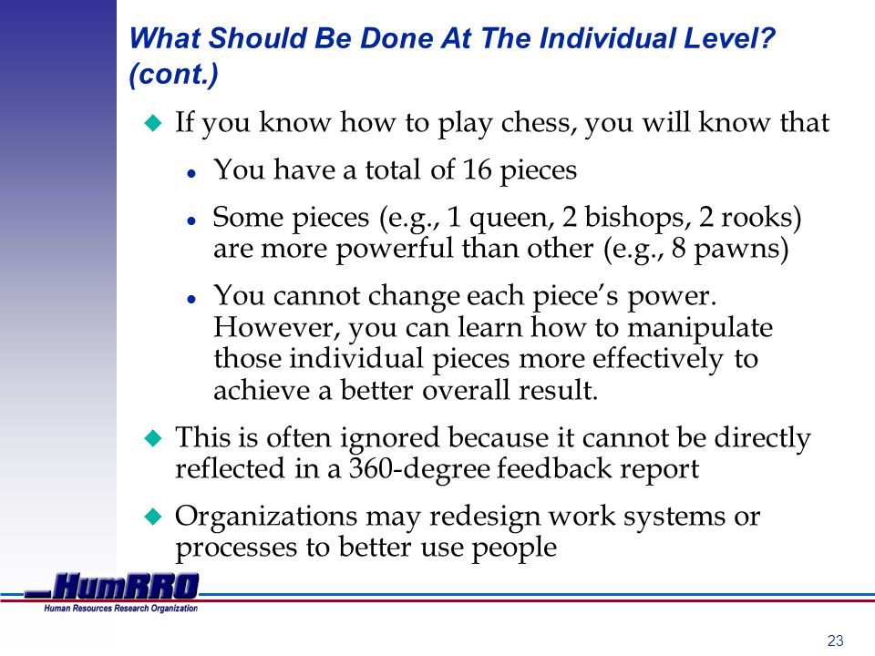 23 What Should Be Done At The Individual Level.