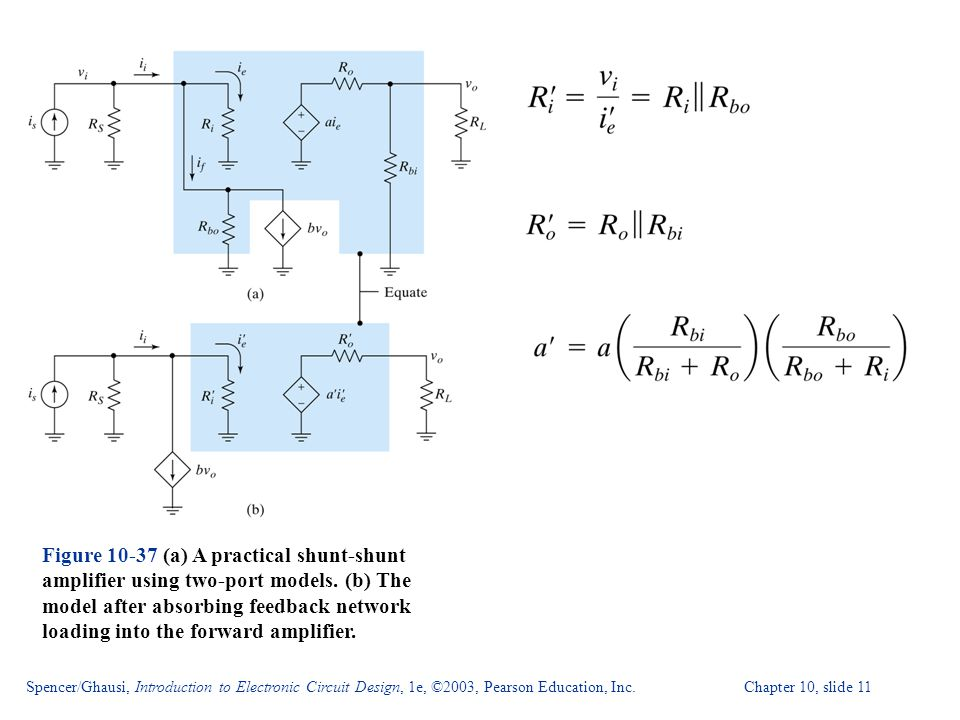 Spencer/Ghausi, Introduction to Electronic Circuit Design, 1e, ©2003, Pearson Education, Inc. Chapter 10, slide 11 Figure 10-37 (a) A practical shunt-