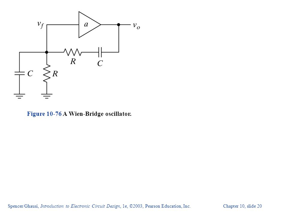 Spencer/Ghausi, Introduction to Electronic Circuit Design, 1e, ©2003, Pearson Education, Inc. Chapter 10, slide 20 Figure 10-76 A Wien-Bridge oscillat