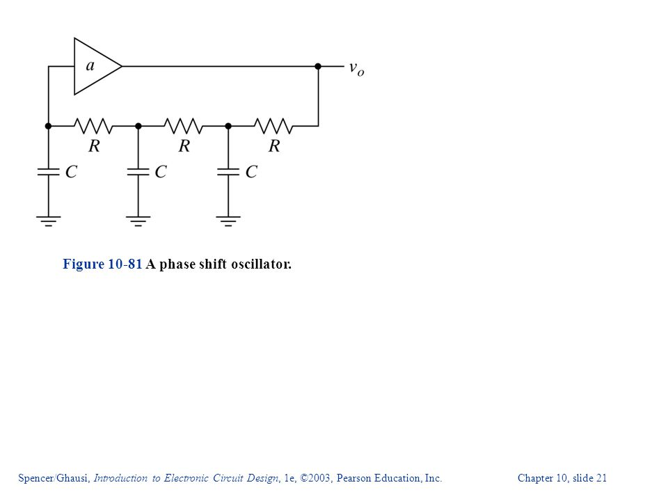 Spencer/Ghausi, Introduction to Electronic Circuit Design, 1e, ©2003, Pearson Education, Inc. Chapter 10, slide 21 Figure 10-81 A phase shift oscillat