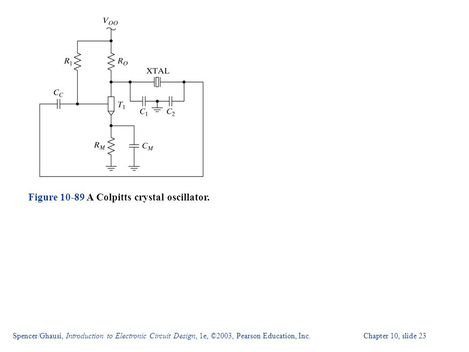 Spencer/Ghausi, Introduction to Electronic Circuit Design, 1e, ©2003, Pearson Education, Inc. Chapter 10, slide 23 Figure 10-89 A Colpitts crystal osc