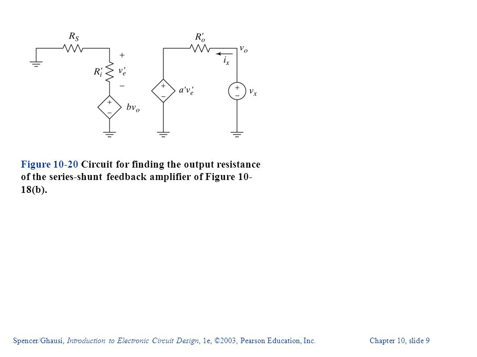 Spencer/Ghausi, Introduction to Electronic Circuit Design, 1e, ©2003, Pearson Education, Inc. Chapter 10, slide 9 Figure 10-20 Circuit for finding the
