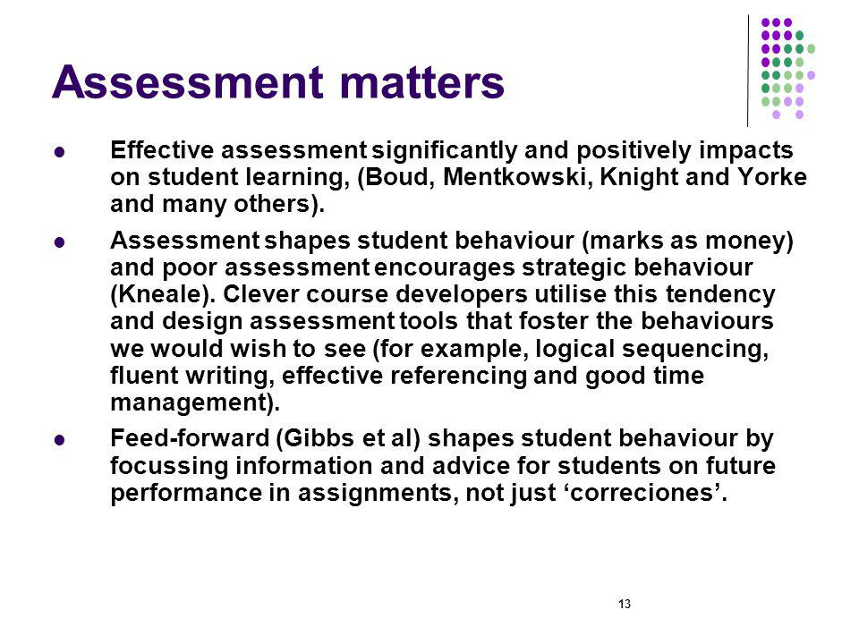 13 Assessment matters Effective assessment significantly and positively impacts on student learning, (Boud, Mentkowski, Knight and Yorke and many others).