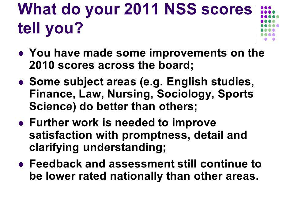 To reiterate: NSS scores are an unreliable indicator as they can be skewed by all kinds of extraneous factors, but do give us some hints on what we should be doing; Attempts to massage NSS scores usually fail; It is much more sensible and worthwhile to concentrate on improving the student experience of assessment and feedback, since these are so central to enhancing the student experience.