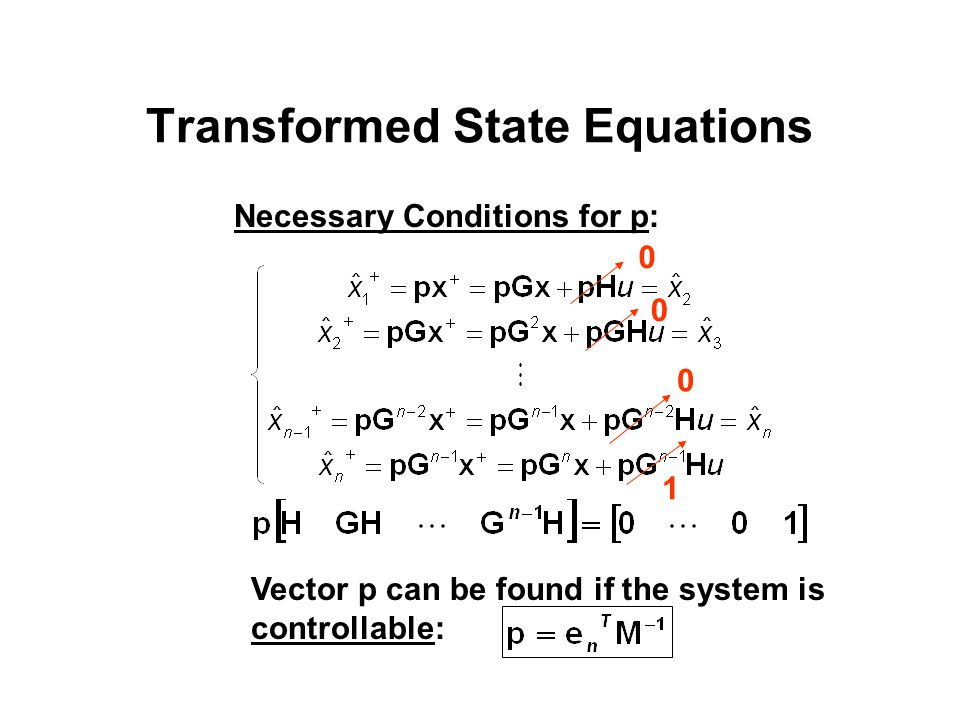Transformed State Equations 0 0 0 1 Necessary Conditions for p: Vector p can be found if the system is controllable: