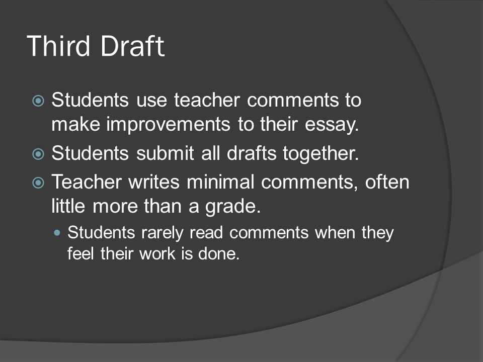 Third Draft Students use teacher comments to make improvements to their essay. Students submit all drafts together. Teacher writes minimal comments, o