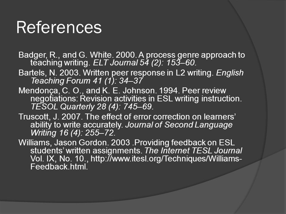 References Badger, R., and G. White. 2000. A process genre approach to teaching writing. ELT Journal 54 (2): 153–60. Bartels, N. 2003. Written peer re