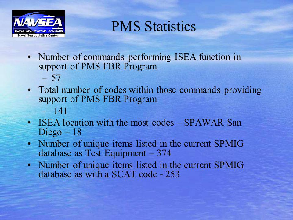 PMS Statistics Number of commands performing ISEA function in support of PMS FBR Program –57 Total number of codes within those commands providing sup