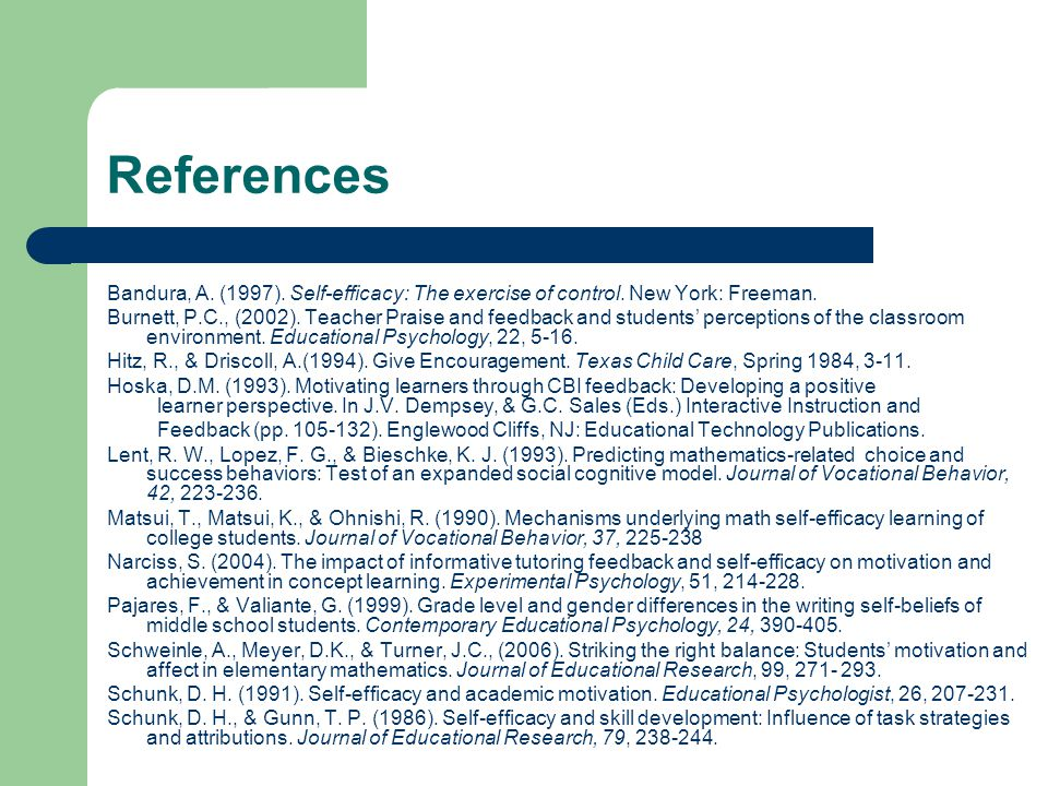 References Bandura, A. (1997). Self-efficacy: The exercise of control.