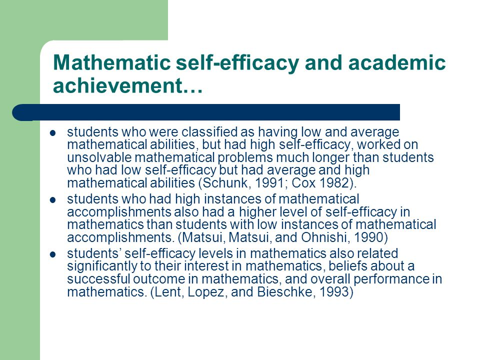 Perception and academic achievement… An individuals self-perception skills, relating to their academic competence, help to determine what they do with the knowledge and skills they that gain in school (Pajares & Valiante, 1999), and have a significant influence over their motivation, choice of activities, effort given on tasks, persistence to complete a task, and task accomplishment.