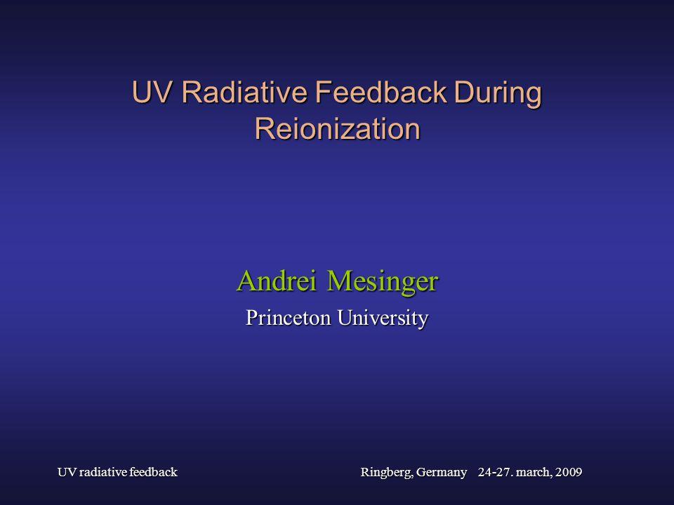 UV radiative feedbackRingberg, Germany 24-27. march, 2009 UV Radiative Feedback During Reionization Andrei Mesinger Princeton University