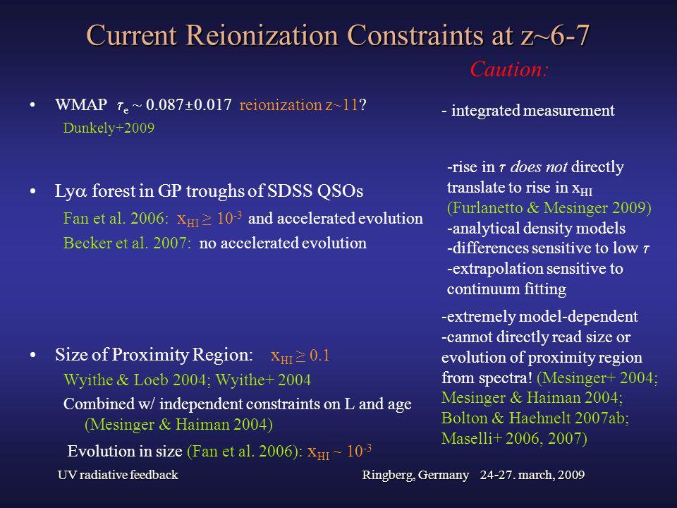 UV radiative feedbackRingberg, Germany 24-27. march, 2009 Current Reionization Constraints at z~6-7 WMAP e ~ 0.087 0.017 reionization z~11? Dunkely+20