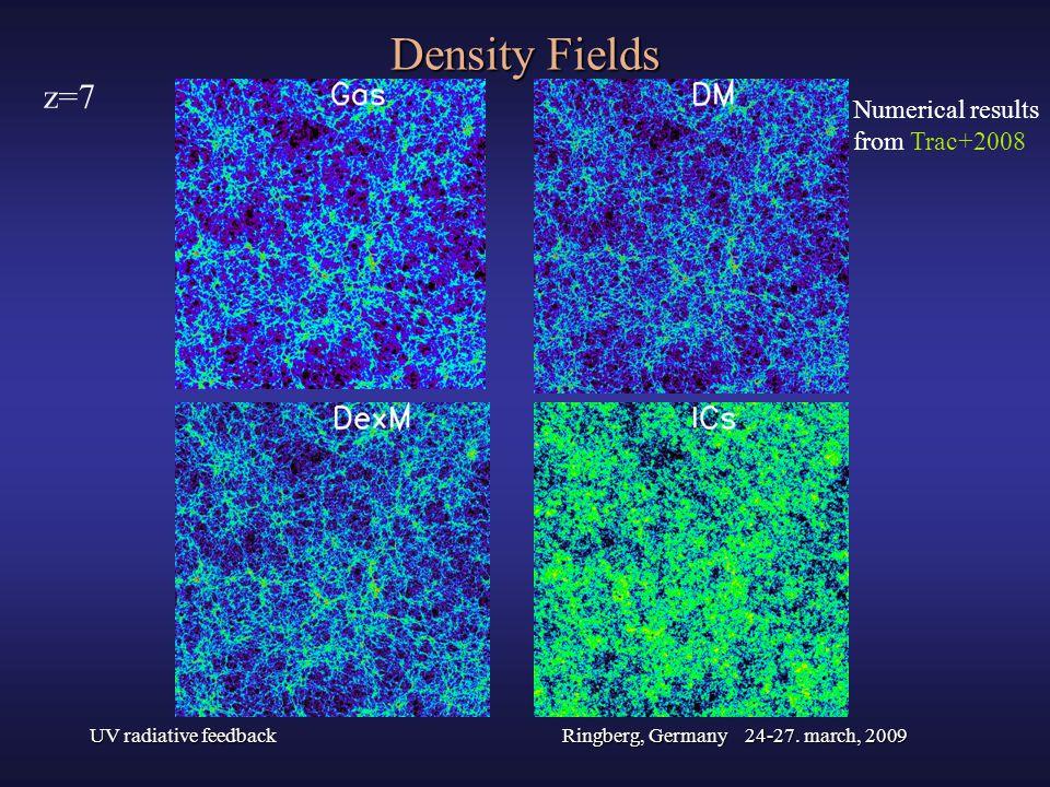 UV radiative feedbackRingberg, Germany 24-27. march, 2009 Density Fields Numerical results from Trac+2008 z=7