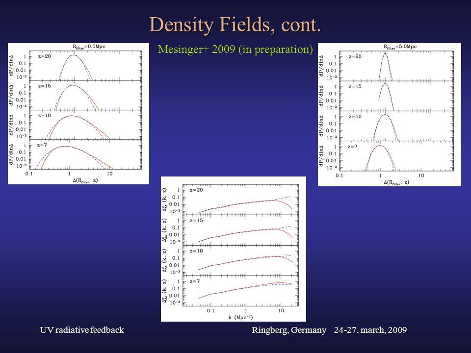 UV radiative feedbackRingberg, Germany 24-27. march, 2009 Density Fields, cont. Mesinger+ 2009 (in preparation)