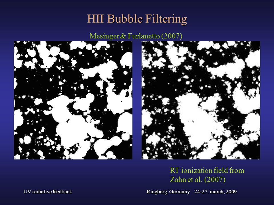 UV radiative feedbackRingberg, Germany 24-27. march, 2009 HII Bubble Filtering Mesinger & Furlanetto (2007) RT ionization field from Zahn et al. (2007