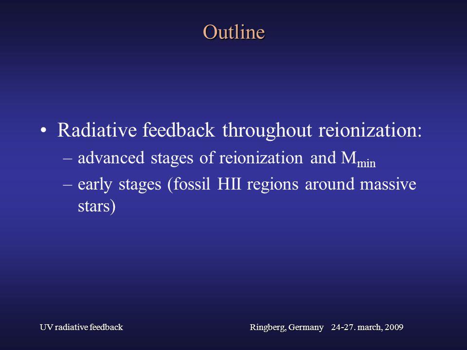UV radiative feedbackRingberg, Germany 24-27. march, 2009 Outline Radiative feedback throughout reionization: –advanced stages of reionization and M m