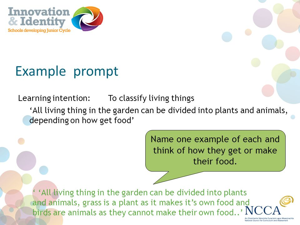 Example prompt Learning intention: To classify living things All living thing in the garden can be divided into plants and animals, depending on how g
