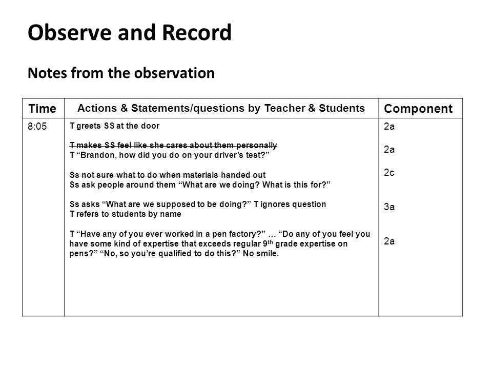 Observe and Record Notes from the observation Time Actions & Statements/questions by Teacher & Students Component 8:05 T greets SS at the door T makes