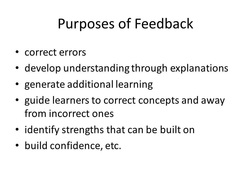 Purposes of Feedback correct errors develop understanding through explanations generate additional learning guide learners to correct concepts and awa