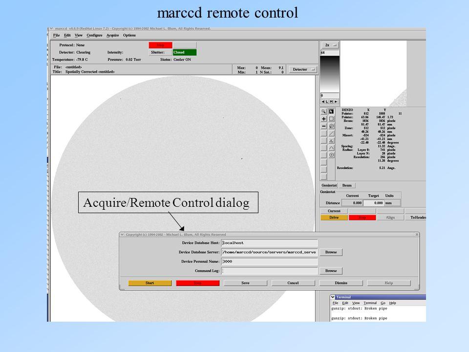 marccd remote control Acquire/Remote Control dialog