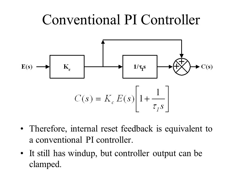 Conventional PI Controller Therefore, internal reset feedback is equivalent to a conventional PI controller. It still has windup, but controller outpu