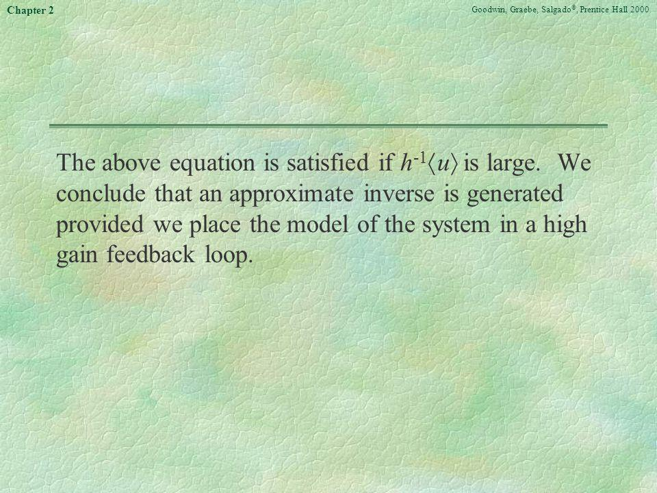 Goodwin, Graebe, Salgado ©, Prentice Hall 2000 Chapter 2 The above equation is satisfied if h -1 u is large. We conclude that an approximate inverse i