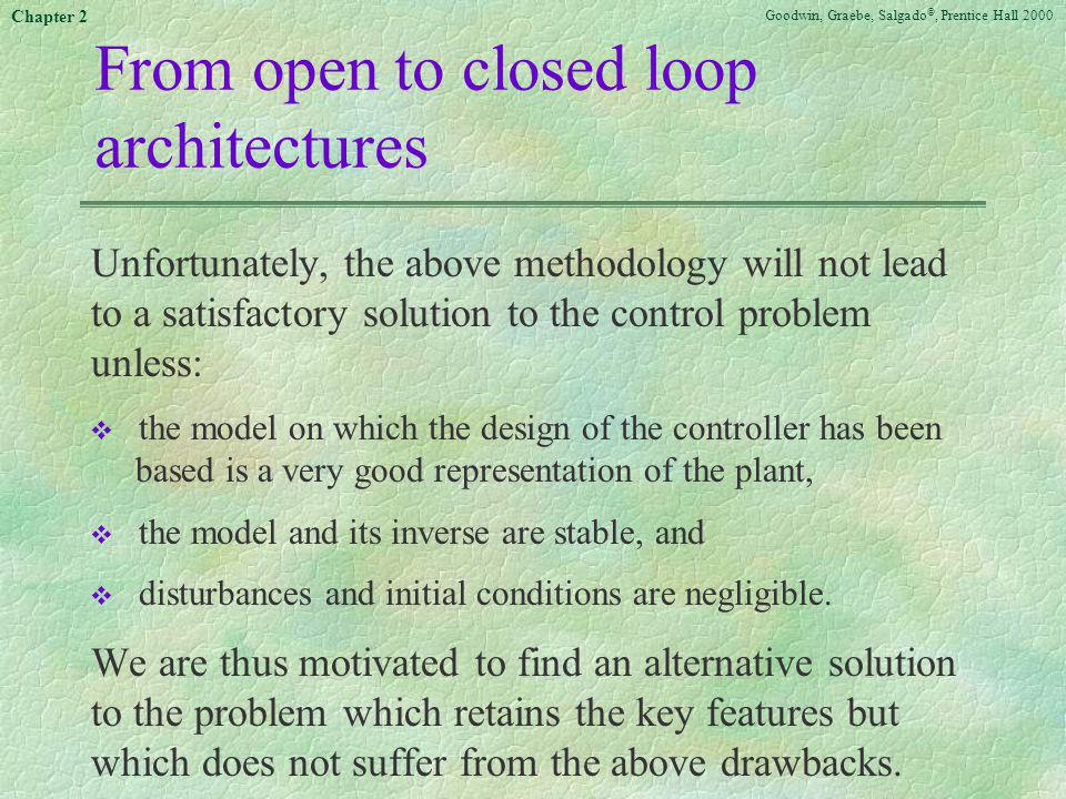 Goodwin, Graebe, Salgado ©, Prentice Hall 2000 Chapter 2 From open to closed loop architectures Unfortunately, the above methodology will not lead to