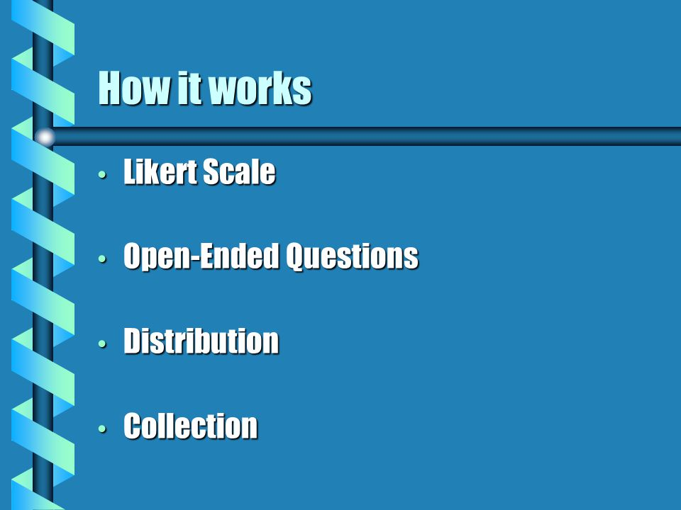 How it works Likert Scale Likert Scale Open-Ended Questions Open-Ended Questions Distribution Distribution Collection Collection