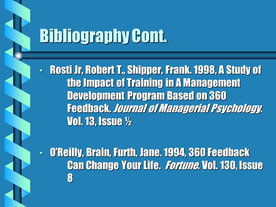 Bibliography Cont. Rosti Jr, Robert T., Shipper, Frank.