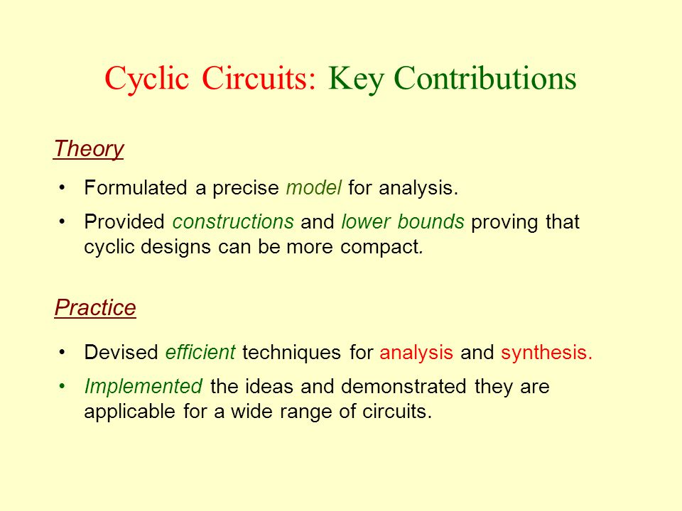 Cyclic Circuits: Key Contributions Practice Theory Devised efficient techniques for analysis and synthesis.