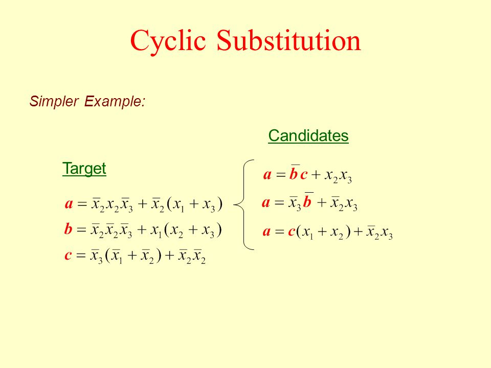 Target Candidates Simpler Example: Cyclic Substitution