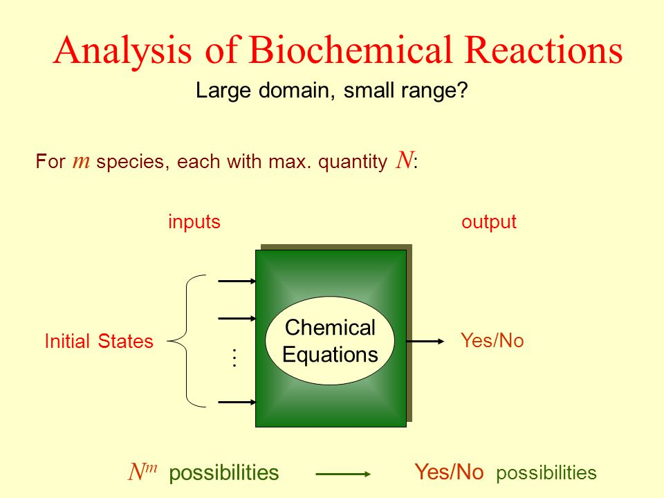 inputsoutput Large domain, small range? N m possibilities Yes/No possibilities Chemical Equations Yes/No For m species, each with max. quantity N : In